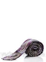 Галстук узкий, шелковый фиолетовый с турецкими огурцами