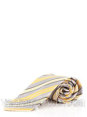 Галстук из микрофибры в диагональную желто-серую полоску
