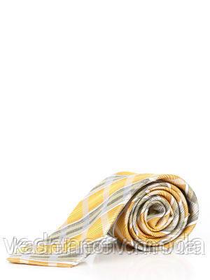 Галстук серый в оливково-желтую клетку