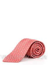 Кораловый галстук в мелкий диагональный квадрат