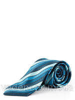 Галстук шелковый в бирюзово-синюю полоску