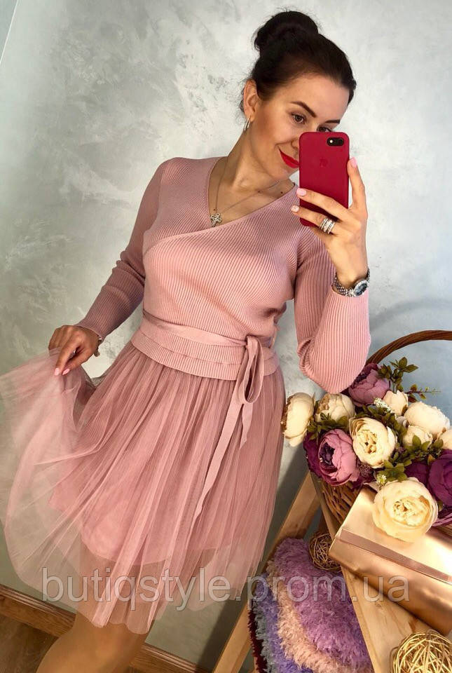 59c5d428e8c Женское красивое платье трикотажная кофта и юбка фатин беж