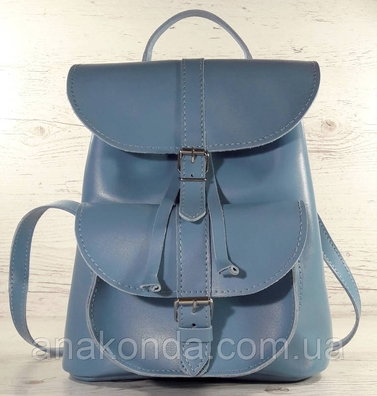 124-1 Натуральная кожа Городской рюкзак голубой Кожаный рюкзак Из натуральной кожи Рюкзак женский рюкзак