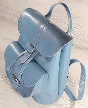 124-1 Натуральная кожа Городской рюкзак голубой Кожаный рюкзак Из натуральной кожи Рюкзак женский рюкзак, фото 2