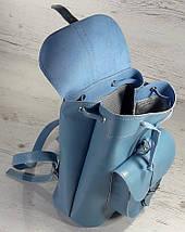 124-1 Натуральная кожа Городской рюкзак голубой Кожаный рюкзак Из натуральной кожи Рюкзак женский рюкзак, фото 3