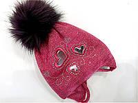 Детская шапка яркая для девочки D408 (флис) 44 - 48