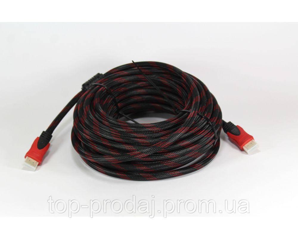 Кабель HDMI-HDMI (V1.4) 15M, Кабель HDMI v1.4 с ферритами в оплетке, Усиленный в обмотке Шнур