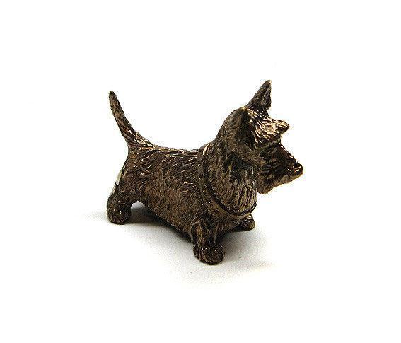 Сувенир Собака Скотчтерьер бронзовая миниатюра