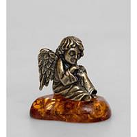 Фигурка Ангел бронзовый с янтарем