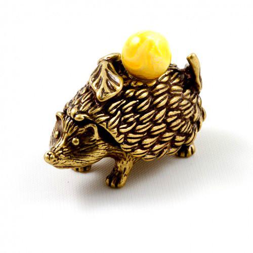 Фигурка Ежик декоративная мини из бронзы и янтаря