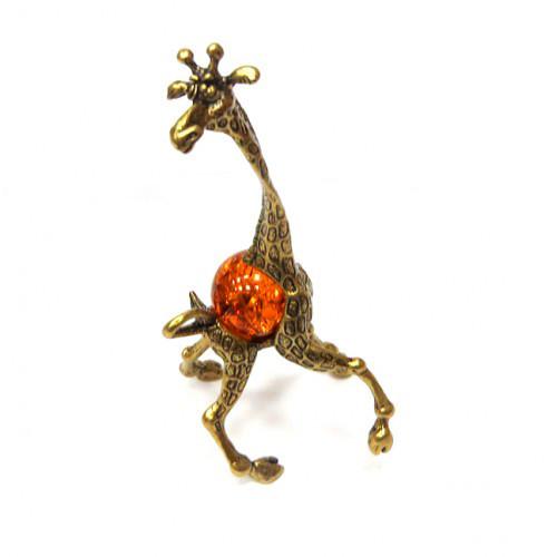 Бронзовая фигурка Жираф янтарь