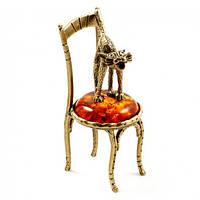 Бронзовая миниатюра Кот на стуле