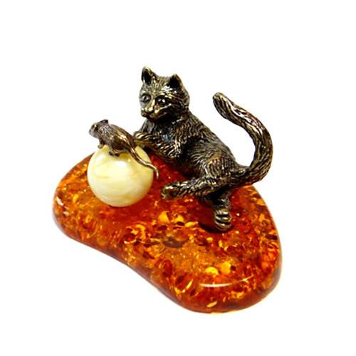 Кошка с мышкой статуэтка мини из бронзы