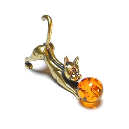 Статуэтка бронзовая Кошка с мячиком янтарным