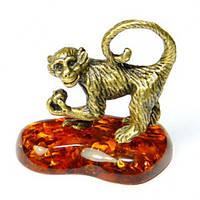 Обезьяна фигурка мини из бронзы и янтаря