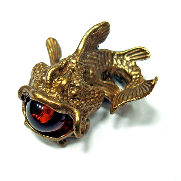 Оригинальная статуэтка Рыба Сом из бронзы