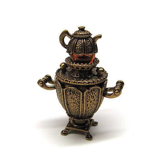 Статуэтка Самовар бронзовая миниатюра с янтарем