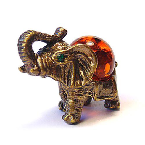 Фигурка декоративная Слон из бронзы и янтаря