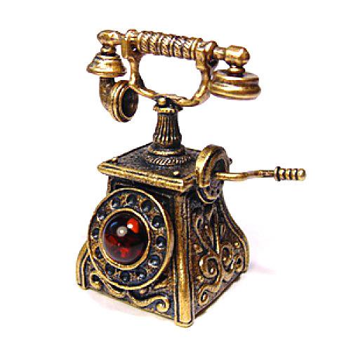 Статуэтка Телефон бронза с янтарем