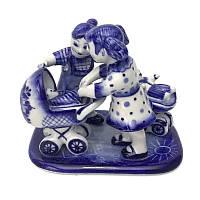 Подарочная фигурка из керамики Мамы с колясками гжелевая
