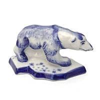 Фигурка роспись гжель Белый медведь