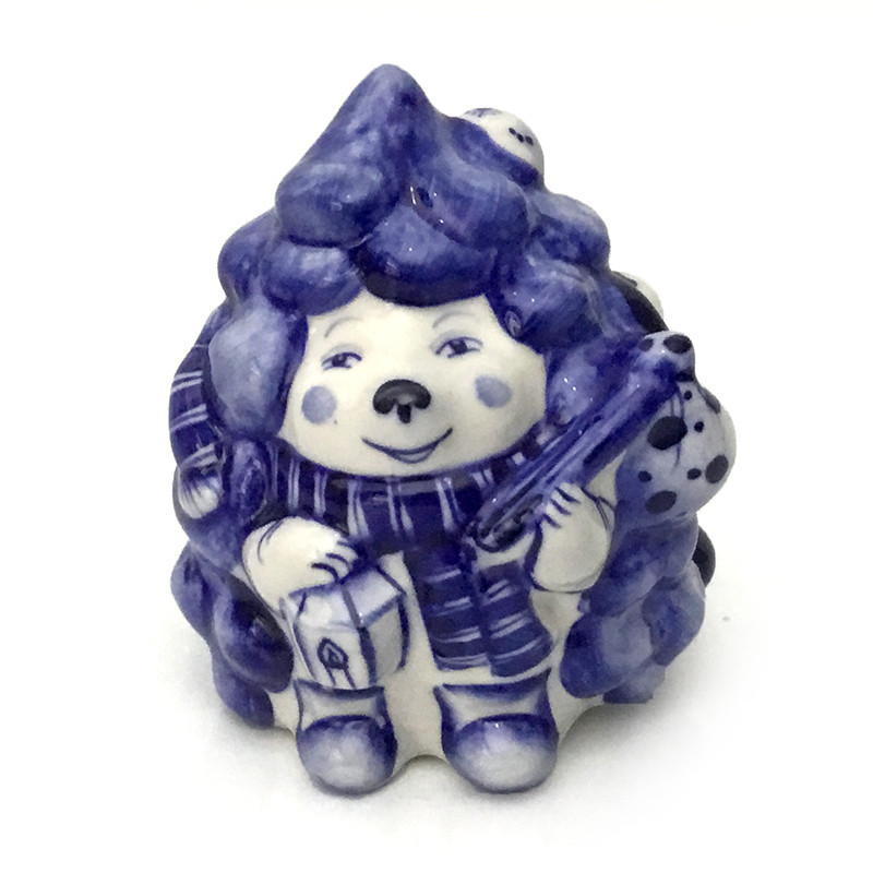 Статуэтка Ежик Колюня гжелевая из керамики