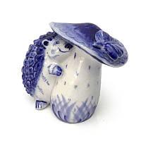 Сувенир Ежик с грибом керамика роспись гжель