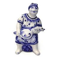 Статуэтка из керамики Женщина птичница народная роспись гжелевая