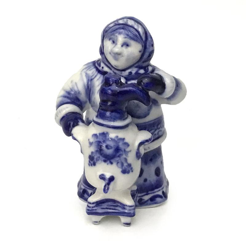 Гжель подарок сувенир Женщина с самоваром