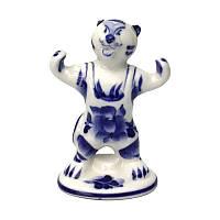 Фигурка Тигр чемпион из гжели керамика