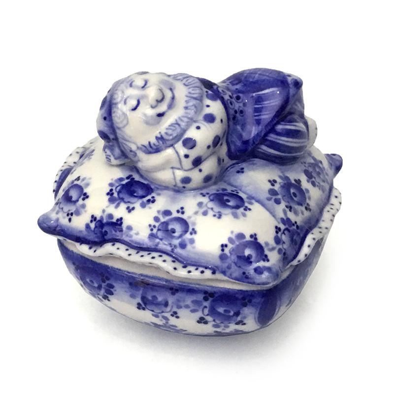 Шкатулка из керамики гжель Гном с подушкой