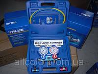 Манометр. (чемодан) коллектор    двухвентельный  VALUE  VMG -2 R134- Вшланги 90 см (  R134(чемодан)