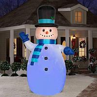 Новогодняя Надувная Фигура Снеговик Надувной 180 см для Атмосферы Нового Года Рождества