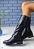 Сапоги кожаные демисезонные черные на низком каблуке