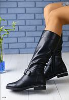 Сапоги кожаные демисезонные черные на низком каблуке, фото 1