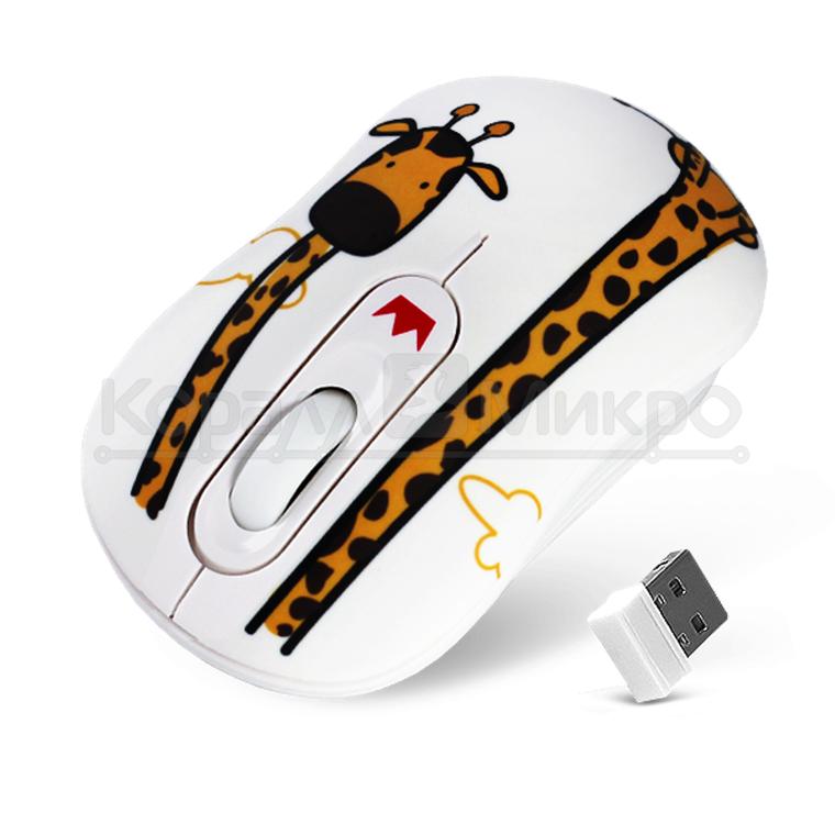 Мышь Crown CMM-928W giraffe беспроводная, 1600dpi, USB, принт жираф