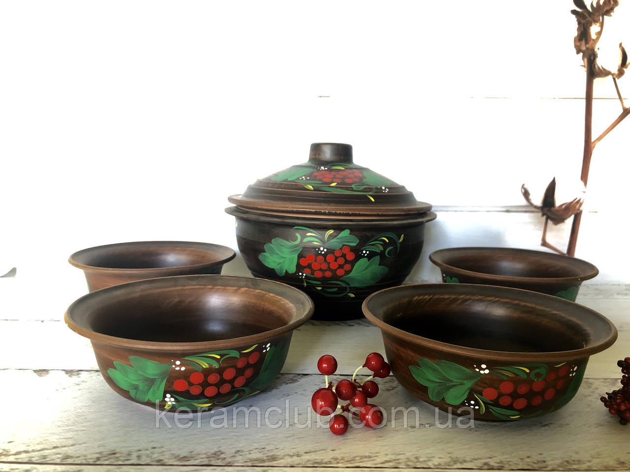 Керамический набор из красной глины супница 2,5 л и пиалы 600 мл с рисунком