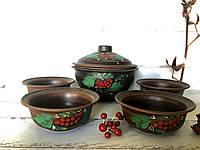 Керамический набор из красной глины супница 2,5 л и пиалы 600 мл с рисунком, фото 1