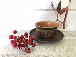 Набір з червоної глини Керамклуб блюдце і піала 150 мл