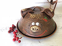 Сальница(тарелка и крышка) гончарная хрюшка, фото 1