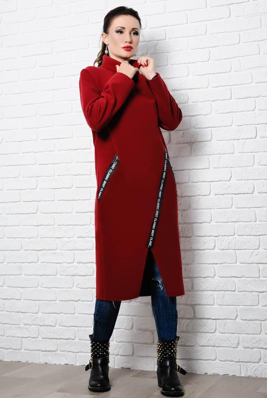 Женское бордовое пальто -Элисон -