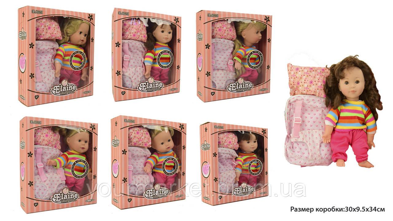 Кукла муз 9912-1  6видов, муз,подушка,рюкзак-слинг для ношения куклы,