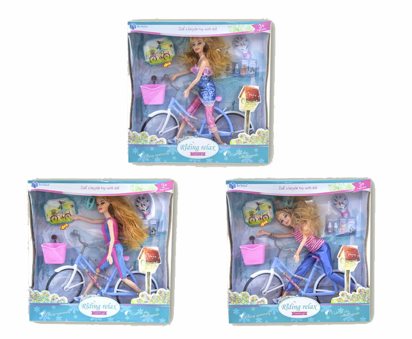 Кукла BYL608-1 (1493670)   3вида,СВЕТ/МУЗ,велосипед,шлем,набор д/пикни