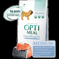 Гипоаллергенный полнорационный сухой корм Optimeal для взрослых собак средних пород – лосось, 1,5 кг