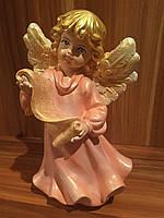 Статуэтка Ангел  девочка с папирусом большая персикового цвета
