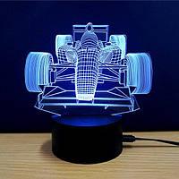 1 Светильник -16 цветов света! Ночник ребенку, Гоночный автомобиль с пультом управления, 3D светильники