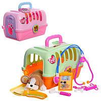Доктор 152 (12шт)  инструменты, 8 предметов, собачка 18см, 2цвета,в чемодане,