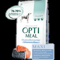Гипоаллергенный полнорационный сухой корм Optimeal для взрослых собак крупных пород – лосось, 12 кг