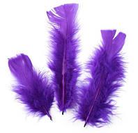 Перья Декоративные (Перо) Индюка Фиолетовые 11-15 см 10 шт/уп, фото 1