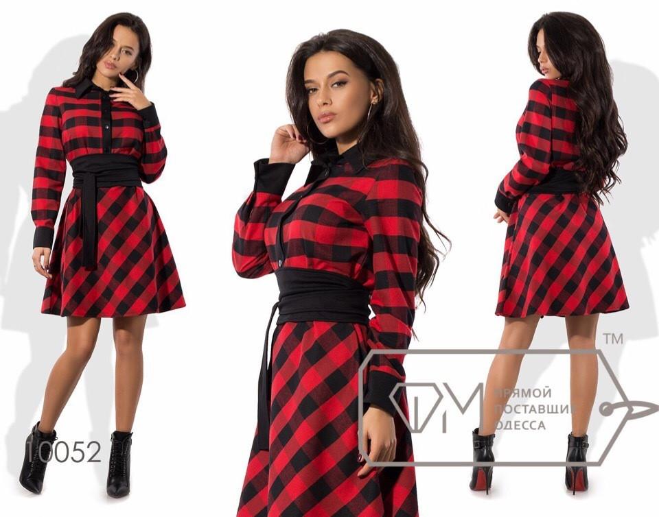Женское платье, цвет - Красный (138)1728-1. (3 цвета) Размеры: 42, 44, 46. Ткань: котон принт.